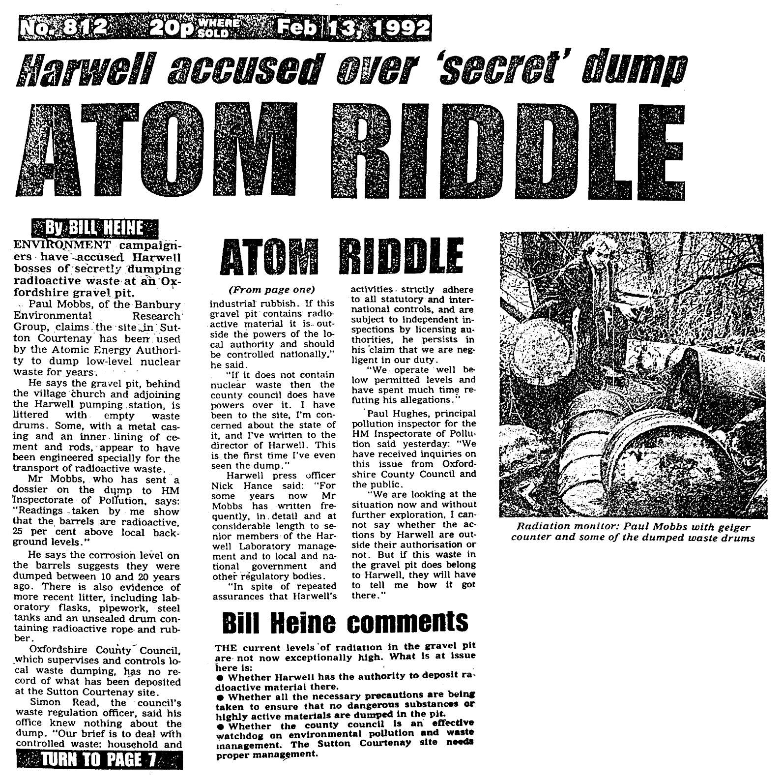 Oxford Star: 'Atom Riddle', 13th February 1992