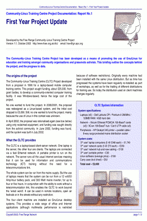'CLTC, First Year Project Update', October 2003