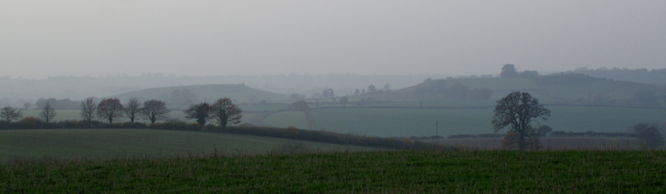 Landscape image, 'A misty Madmarston Hill and Jesters Hill at sunset'