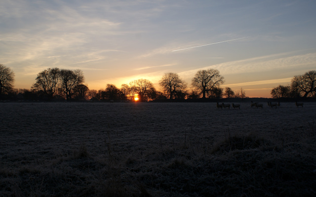 Landscape image, 'A Frosty Dawn at Rainsborough Camp'